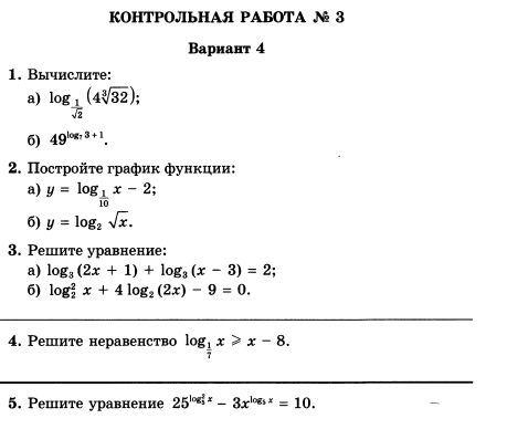 КР Логарифмическая функция Алгебра класс Контрольные  Глизбург В И Алгебра и начала математического анализа Контрольные работы 11 класс